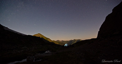 Silent time   Deep into the night at Caltun lake(2135m) after having witnessed a calm sunset on Negoiu peak Fagaras mountains