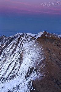 Sunset view towards Vistea shelter from Vistea peak(2527m) Fagaras mountains