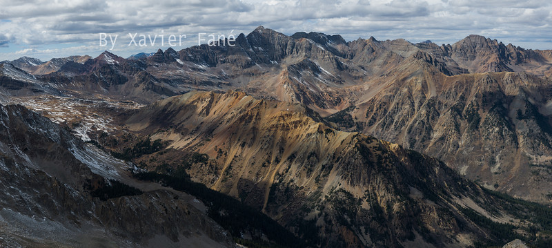 The imassive ridges of Castle and Cathedral Peaks seen from the summit of Taylor Peak.