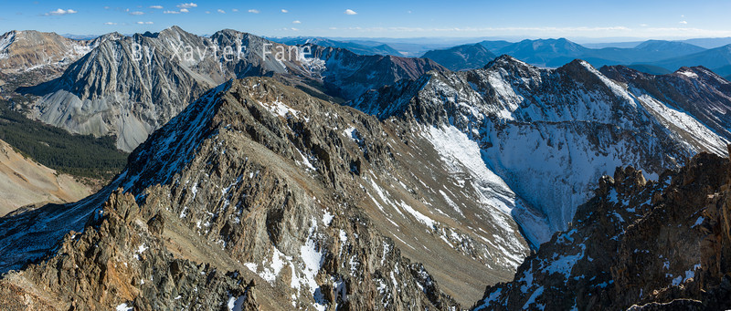 The rugged panorama of the WhiteRock and Avery Massifs seen from the summit of Dorothy Peak.