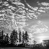 64  G Barn and Clouds Sun Wide BW