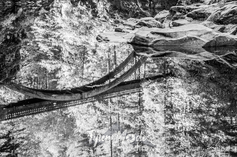 35  G Moulton Falls Bridge Reflection BW