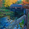 Covered bridge over Blackman Stream at Leonard's Mills in Bradley Maine.
