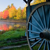 Wagon wheel of one of the horse drawn carriages at Leonard's Mills in Bradley Maine.