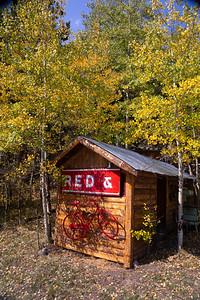 Red Bike Cabin and Aspens in Fall