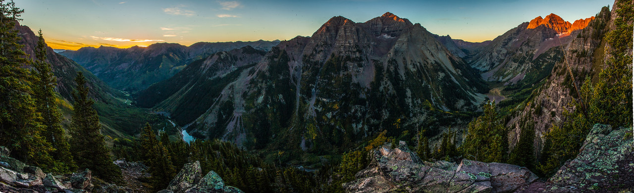 Aspen Highlands, Pyramid Peak and the Maroon Bells at Sunrise