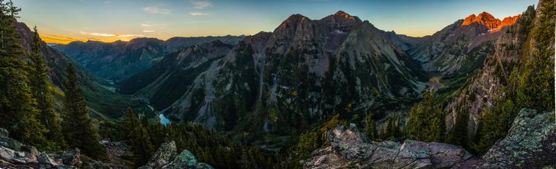 Aspen Highlands, Pyramid Peak and the Maroon Bells at Sunrise