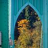 Fall trees through St. John's Bridge