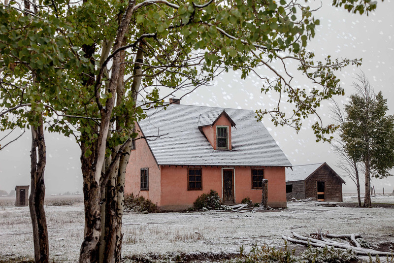 Taken at the Moulton Barns in The Grand Tetons at Mormon Row. First snow of the fall season 2013,  I added a falling snow texture.