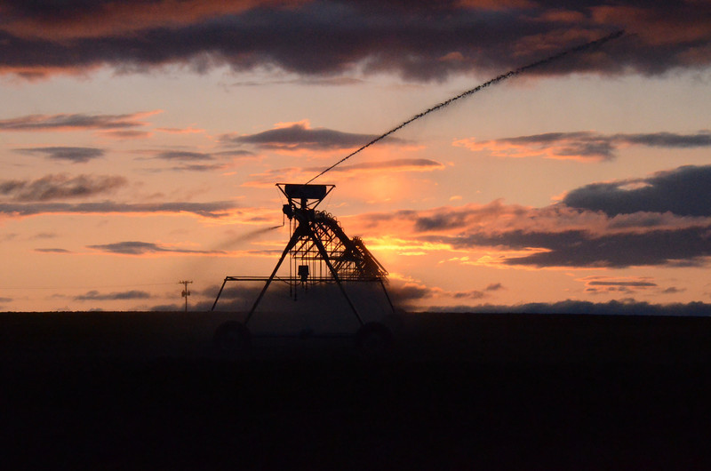 A farmers irrigation pivot line. This move automatically on a timer in a circle and once on an airplane people were all excited looking at the crop circles and I laughed because they were from  pivot lines. These cut down a lot of time spent irrigating for farmers.Also are beautiful shapes in the sunsets.