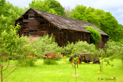 Portland CT. farm, farming, tabocco barn, farm, barn, building, landscape, old, farm equipment, watercolor