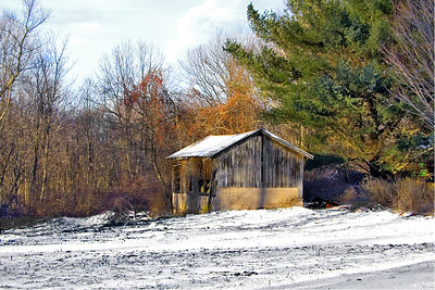 Out building, shed, garage, barn, farm, Wallingford CT, field, landscape, snow, fall,