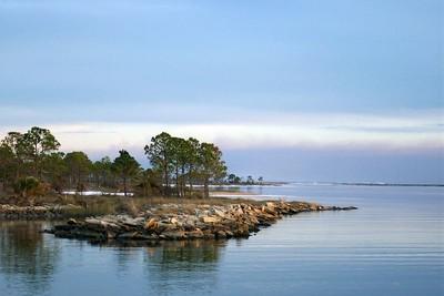A popular peninsula for fisherman near the marina