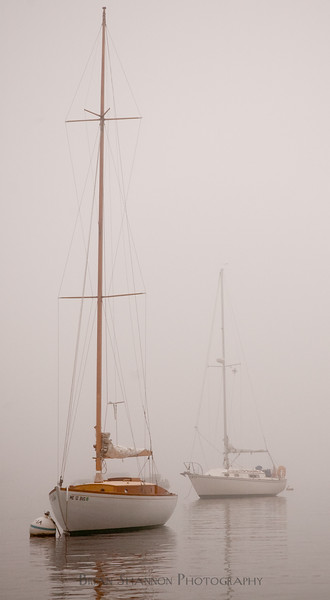Sailboats in the mist by Brian Shannon