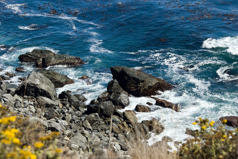 Ocean Blue Closeup on the Rocks near Cambria<br /> Big Sur, California<br /> July 2007<br /> <br /> Copyright © 2007 Rick Kruer<br /> rickkruer.com<br /> <br /> D200_2007-07-25DSC_3381-OceanBlueRocks-2.psd
