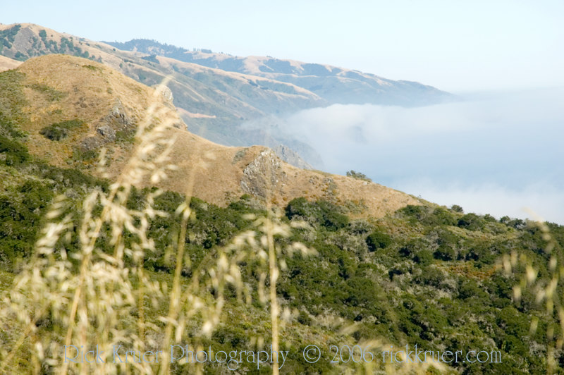 Fog thick as a blanket on the California coast on the road to Big Sur, CA.<br /> ND70_2006-07-08DSC_4158-FogView-2.JPG