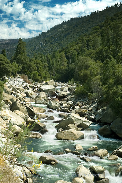 A tall photo of the Merced River flowing over the rocks on our first stop after leaving the Cedar Lodge hotel as we make our way through the park on Tioga Pass road.<br /> <br /> D70_2006-07-29DSC_6244-MercedRiverRocksTall-nice-2 copy.jpg
