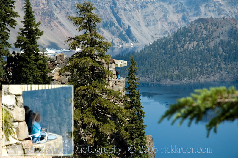 Photo of Eileen in the Sinnot Memorial Outlook, a rock structure hanging over the edge of Crater Lake. Inset closeup photo is an enlargement of Eileen from the outlook. What a view!<br /> <br /> ND70_2006-07-27DSC_6167-EileenOnOverlook-EileenInset-3 copy.jpg