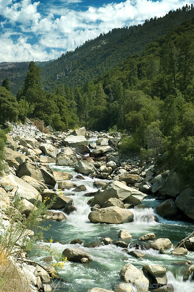A tall photo of the Merced River flowing over the rocks on our first stop after leaving the Cedar Lodge hotel as we make our way through the park on Tioga Pass road.<br /> <br /> ND70_2006-07-29DSC_6244-MercedRiverRocksTall-nice-2 copy.jpg