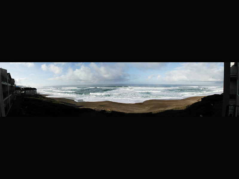 Panorama view of Oregon Ocean taken at the Cavalier Condo