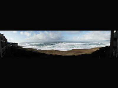 Panorama view of Oregon Ocean taken at the Cavalier Condo