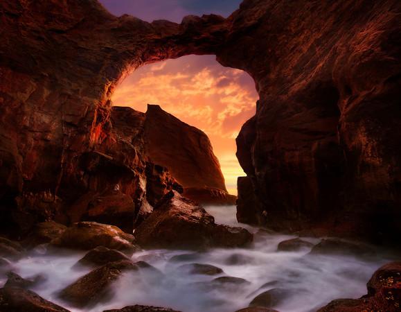 Stormy Skies Looking Through Keyhole Arch - Cape Kiwanda, Oregon Coast, Oregon
