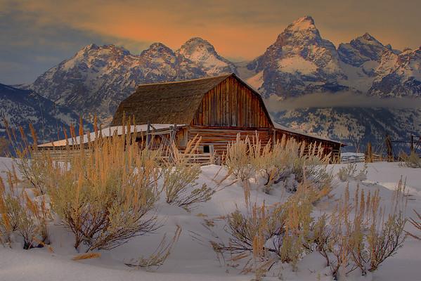 Warmth Of Sunrise In Winter - Mormon Row, Grand Teton National Park, Wyoming