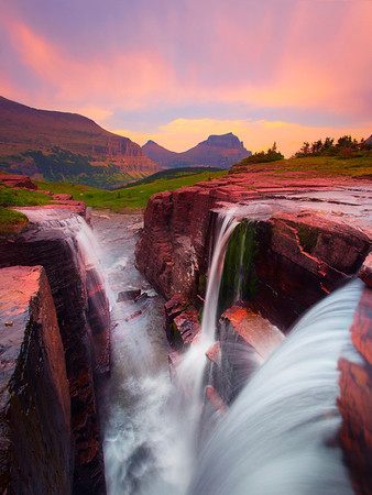 Triple Waterfall - Logans Pass, Glacier National Park, Montana
