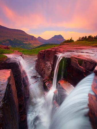 Triple Waterfall - Logans Pass, Glacier National Park, Montana