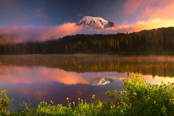 Surreal Light From Reflection Lakes - Mount Rainier National Park, Washington