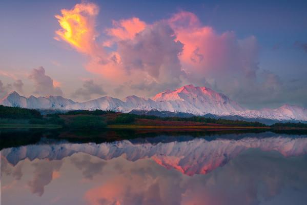 Pink Pastels Mirrored In Reflection Pond - Denali National Park, Alaska