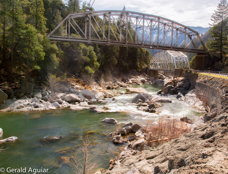 I like the steel architecture of these two steel bridges as they span the Feather River for different purposes.  The upper one has a Union Pacific logo on it.  The lower bridge reminds me of the old Giannella Bridge east of Hamilton City.