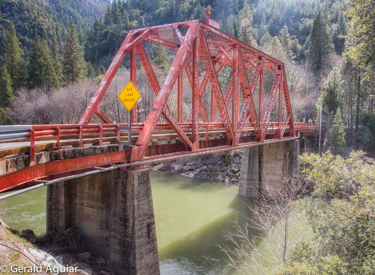 This bridge connects Highway 70 to the small township of Belden on the south side of the Feather River.