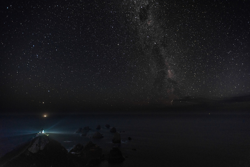 Nugget Point lighthouse by night. 22 March 2014, h21:11