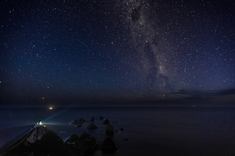Nugget Point lighthouse by night. 22 March 2014, h21:06