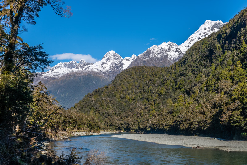 Hollyford River, Mount Te Wera and Mount Madeline.