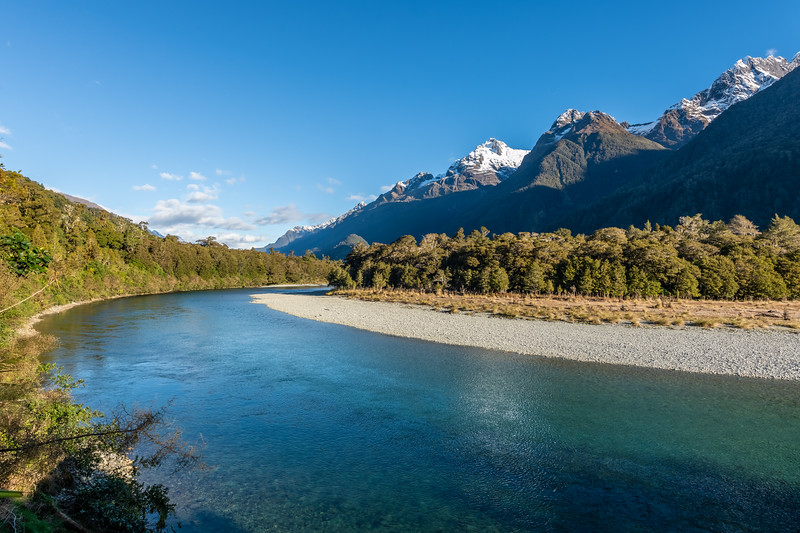 Hollyford River. Mount Tuhawaiki and Mount Madeline above.