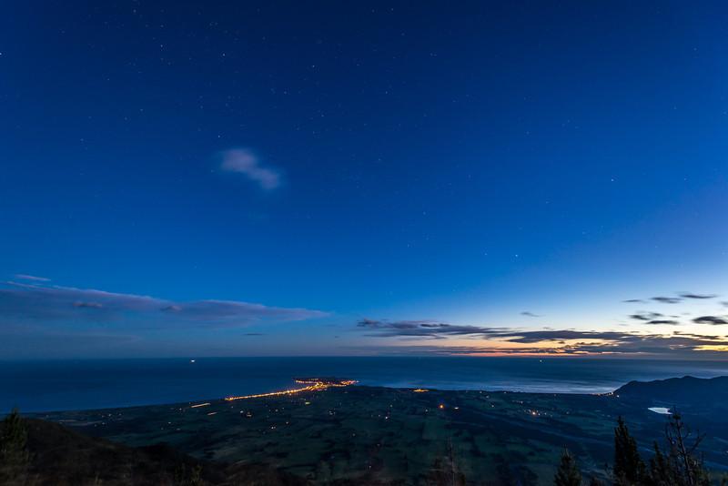 View of the Kaikoura Peninsula at dusk