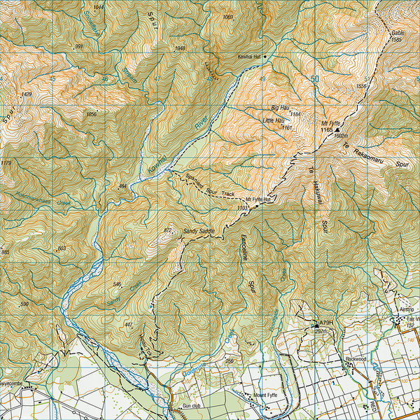 """Mount Fyffe map. 1 grid square = 1km. Left click on map then select """"Sizes -> Original"""" in bottom right corner of screen to view full size."""
