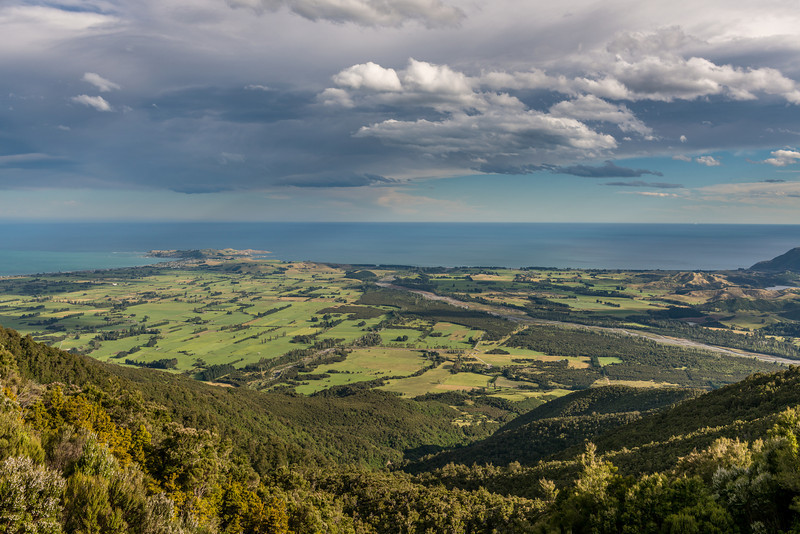 View of the Kaikoura Peninsula from the slopes of Mount Fyffe. The Kowhai River on the right