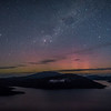 Aurora australis over Lake Hauroko. Oblong Hill Lookout.