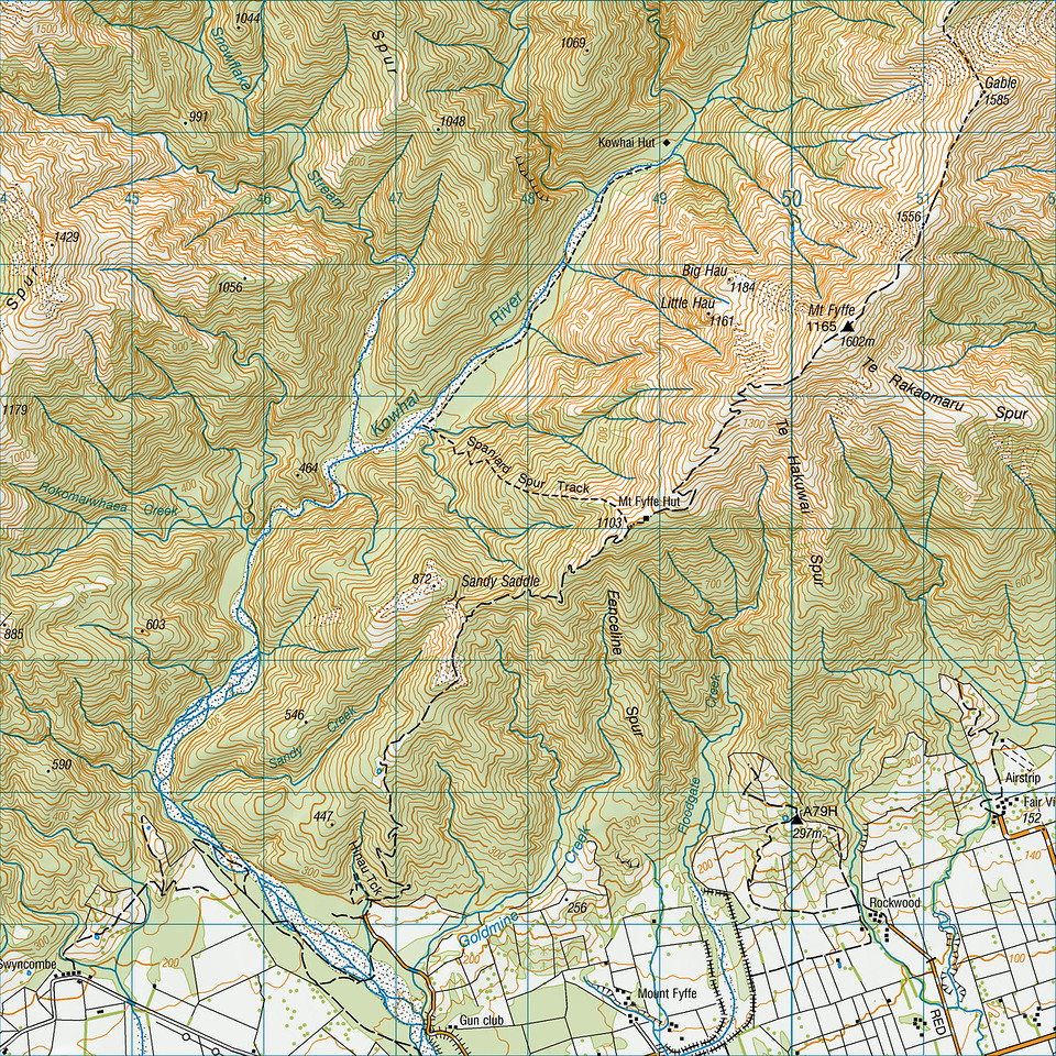 "Mount Fyffe map. 1 grid square = 1km. Left click on map then select ""Sizes -> Original"" in bottom right corner of screen to view full size."