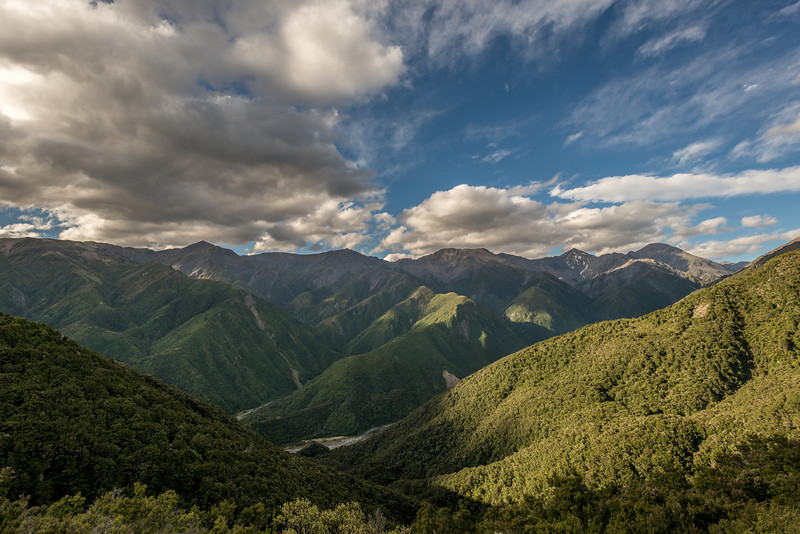 The Seaward Kaikoura Range from the slopes of Mount Fyffe. From left to right are Snowflake, Shattered Peak, Mount Saunders, Manakau, Uwerau, Te ao Whekere (in the far back). The Kowhai River below
