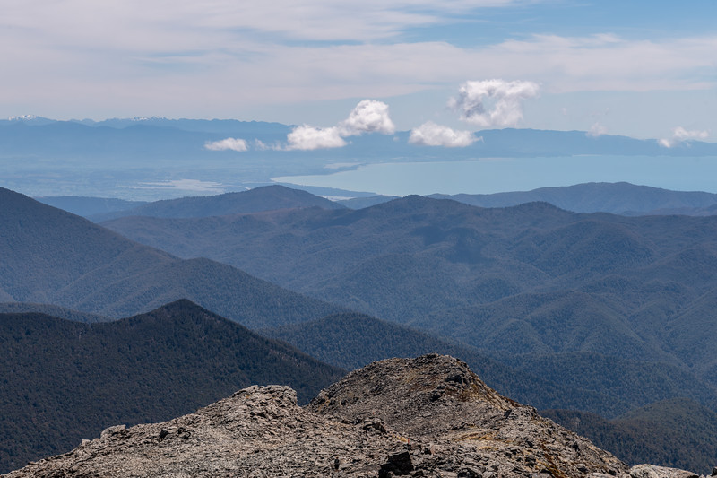 View of Tasman Bay / Te Tai-o-Aorere from the summit of Mount Richmond. Richmond Range, Marlborough.