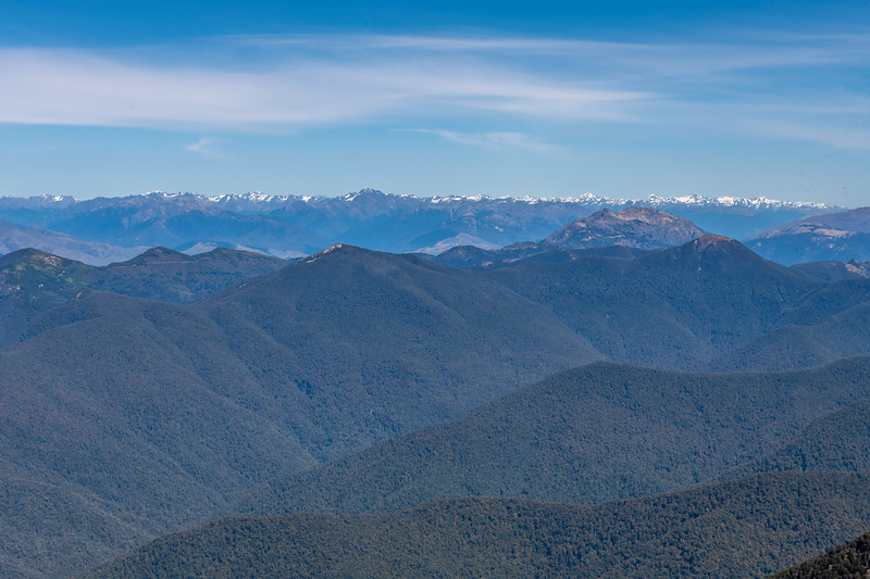 View south-west from the summit of Mount Richmond, looking over Mt Patriarch (right) to the Southern Alps. Richmond Range, Marlborough.