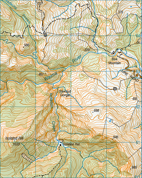 Sawcut Gorge map