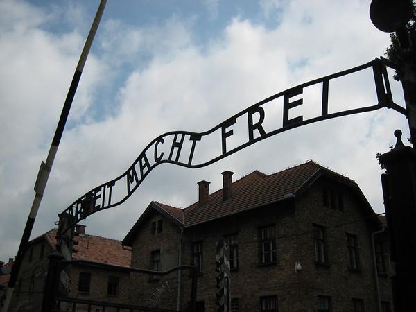 Gate to Auschwitz Concentration Camp - Translation: Work Will Set You Free.  Auschwitz, Poland