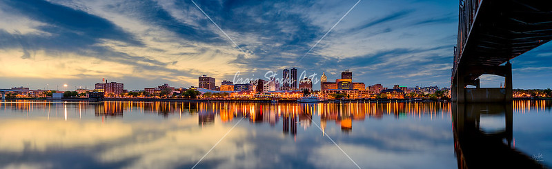 Downtown Peoria, Illinois reflecting in the Illinois River.