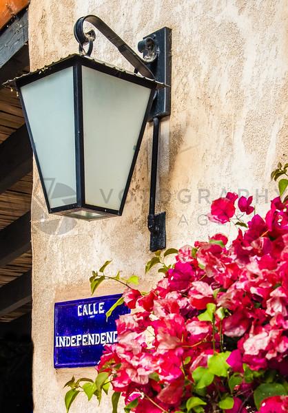 Street Lamp and Flowers on Calle Independencia, Sedona, Arizona