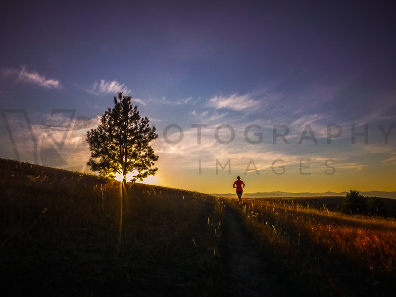 Trail Running At Sunset, North Hills, Missoula, Montana